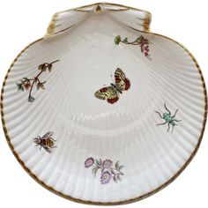 19th Century Wedgwood Shell Plate with Enameled Insects, Butterfly & Flower Sprigs