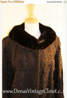 50% OFF Columbus Day Sale Vintage Persian Wool Coat Black Curly Lambs Wool Coat Mink Collar Shillitos SZ M/L