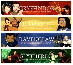 Last Airbender characters & their Hogwarts houses!