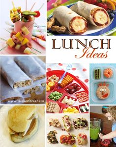 "This should probably be pinned on my ""yummies"" board BUT I think these are some great ideas for lunches for my boy...easy for daddy to make:)"