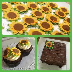 Brownie cupcake + cake girasoles   Postrería