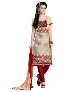 #Attractive #Off-White & #Red #Colored #Embroidered # Dress Material