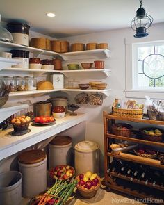 Seaside Sanctuary - New England Home Magazine Pantry Love! My favorite thing: All the fresh produce and wine storage instead of the packaged food storage you usually see English Cottage Kitchens, English Cottage Interiors, English Farmhouse, English Cottage Style, English Country Decor, French Cottage, English Cottage Decorating, Old Cottage, Cottage Living