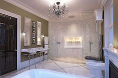 A computer rendering of a luxury bathroom featuring marble floors and fittings by Drummonds and a chimneypiece by Chesneys.