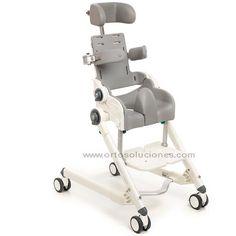 Silla infantil basculante y reclinable para baño y wc. FLAMINGO ofrece para los niños cualidades de posicionamiento únicos. Asiento y respaldo reclinables. Chasis regulable en altura. Freno en 4 ruedas. Chasis en aluminio. 4 tamaños.