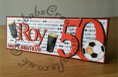 50th Male Birthday card made using Sizzix Bigz Numbers and embosslits football dies, Quickutz Cookie Cutter Mary Jane Alphabet dies, Tattered Lace sentiment dies (from 3 Diemensions sets) and custom made wooden beer glass die. Beer glass heat embossed with clear powder. Background printed with text relevant to the recipient.