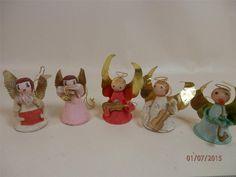 Vintage Christmas 5 piece paper w spun cotton heads angel ornaments Japan