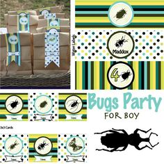 Boy Bugs Party - Festa Insetti per bambino - Festa di Compleanno personalizzabile - Personalized Printable Party. $29.00, via Etsy.