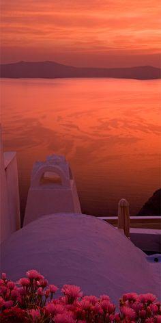 pink sunset, Santorini, Greece