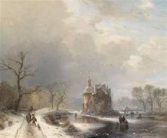 Carl Hilgers - Winterlandschap met schaatsers en jagers