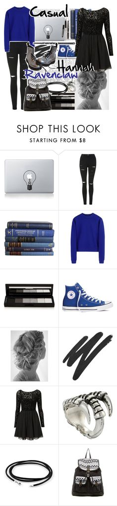 """""""Hannah Ravenclaw~casual"""" by squidney12 ❤ liked on Polyvore featuring Nordstrom, Vinyl Revolution, Topshop, Acne Studios, shu uemura, Converse, NARS Cosmetics, King Baby Studio, Bling Jewelry and T-shirt & Jeans"""