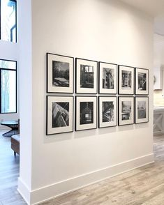 Our home's first gallery wall has been hung! We decided to do black & white house construction prints in the front… Decoration Bedroom, Hallway Decorating, Diy Home Decor, Gallery Wall Frames, Modern Gallery Wall, Gallery Gallery, Black Frames On Wall, Modern Farmhouse Gallery Wall, Metal Frames