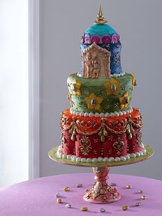 Asian Indian Wedding Cake (a Collette Peters student? Gorgeous Cakes, Pretty Cakes, Amazing Cakes, Indian Cake, Indian Wedding Cakes, Indian Weddings, Indian Theme, Crazy Cakes, Fancy Cakes