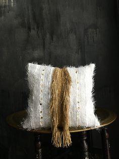 Moroccan Wedding Blanket Pillowcase | Pillowcover | Boho Pillow | Tribal | Handira | Berber | Gold Fringe | Metal Coins | Brass