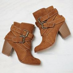 AE Double Wrap Bootie (43 CAD) ❤ liked on Polyvore featuring shoes, boots, ankle booties, zapatos, ankle boots, brown, high heel boots, high heel bootie, high heel booties and high heel ankle boots