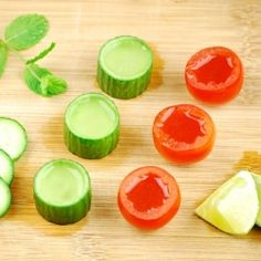 Bloody Mary shot & cucumber-mint shooter in edible glasses