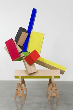 JOEL SHAPIRO Untitled (JS13-3), 2013 Wood and casein 109 × 76 3/4 × 48 in 276.9 × 194.9 × 121.9 cm