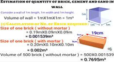 Calculation of quantity of cement, sand and bricks in wall. Calculate quantity of cement, sand and bricks in wall. Brick Calculator, Engineering Notes, Civil Engineering Construction, Affordable House Plans, Building Costs, Math Formulas, Bedroom Bed Design, House Elevation, Brickwork
