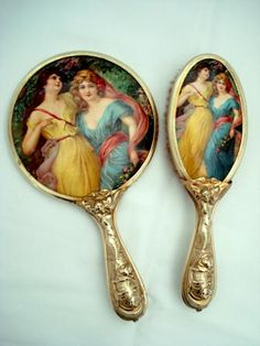 Celluloid hand mirror brush vanity set dual lady portraits
