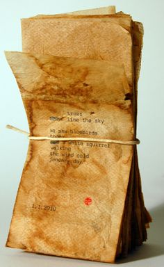 Heidi Zednik - january: sideways and up front. one teabag a day. Tea Bag Art, Tea Art, Altered Books, Altered Art, Paper Art, Paper Crafts, T Bag, Book Journal, Art Journals