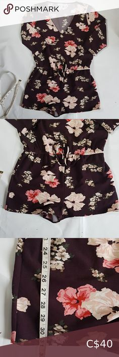 Cupcakes &Cashmere  Romper Floral Wine sz M Beautiful 3/4 Sleeve Floral wine Pattern Romper short with Drawstrings by Cupcakes &Cashmere Design Studio  Measurement enclosed  Classy wear for casual as well as formal  Easy care fabric wrinkle free machine washable  No damages or defects  Never worn but does not have a tag hence pre owned label  Please feel free to msg if any questions about this item,as it avoids returns and discrepancies  Open to offers and combine shipping  Thanks for… Classy Wear, Floral Romper, Cashmere, Label, Cupcakes, Rompers, Wine, Summer Dresses, Studio