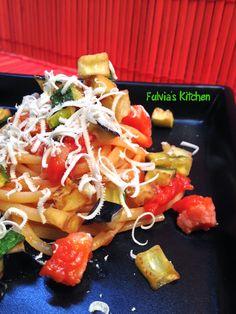 Fulvia's Kitchen: #Linguine con #verdure croccanti e #pancetta affumicata