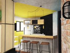 Loft do Músico | Andressa Cobucci Estúdio. Um ambiente rústico, com características do estilo industrial e uma pegada retrô. Na cozinha, a parede preta se une ao azulejo preto, dando unidade ao espaço. A parede de azulejos pode ser usada como um mural, onde é possível escrever ou desenhar. O mix de madeiras com compensado naval, osb e teca, torna o espaço mais interessante e divertido!