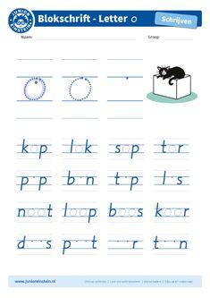 Oefen het schrijven van de letters in woorden. Je hebt de letter o nu al vaak en goed geoefend. Probeer hem nu netjes tussen andere letters te schrijven. Kijk goed naar de voorbeelden. Tip: bekijk ook de andere blokletters goed. Die kun je allemaal nog oefenen!