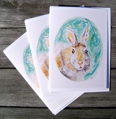 Set of 3 greeting card Wise Old Bunny blank by BearMooseAndBunny