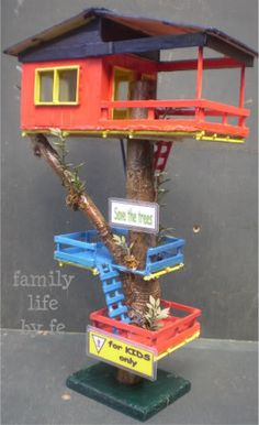 How about this set-up...only with largest unit on bottom...with simple smaller platforms/lookout/crow's next up high? Not so colorful please! Lets harmonize with nature.
