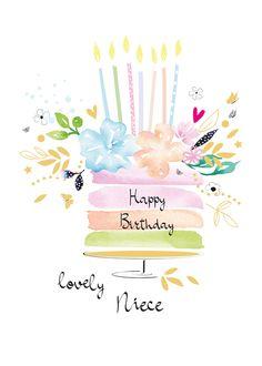 Happy Birthday Lovely Sister, Happy Birthday Wishes Photos, Daughter Birthday Cards, Niece Birthday, Girlfriend Birthday, Happy Birthday Cards, Watercolor Birthday Cards, Birthday Card Drawing, Homemade Birthday Cards