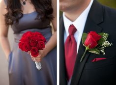 Love the slate grey with red colors! Roses can be red, and ties & a sash/ribbon tied across the middle can be royal blue