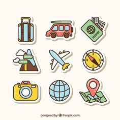 Travel element collection with flat design Vector Travel Sticker, Design Plat, Doodles, Travel Icon, Car Travel, Free Travel, Design Poster, Aesthetic Stickers, Travel Design