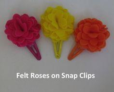 Felt Roses on Snap Clips