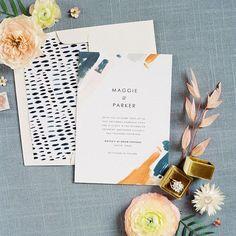 Modern painterly invitation suite by Fine Day Press #weddinginvitations