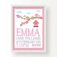 personalised bird baby girl birth print by little baby boutique | notonthehighstreet.com