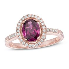 #Valentines #AdoreWe #Zales - #Zales Oval Rhodolite and 1/6 CT. T.w. Diamond Frame Ring in 10K Rose Gold - AdoreWe.com