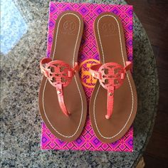 Tory Burch mini miller flat thing Melon color Tory Burch mini miller things. Excellent condition worn twice!  I am pricing them reasonably so please no low ball offers! Includes original box Tory Burch Shoes Sandals