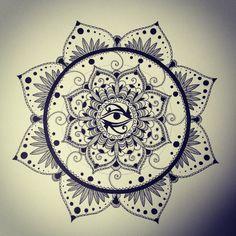 Mandala Designs, jdenmat: Eye of Horus, pigment liner on 9x12...