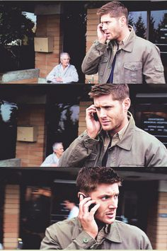 Dean with a phone....and a healthy looking dude smoking a cigarette behind him-- 9x12 Sharp Teeth