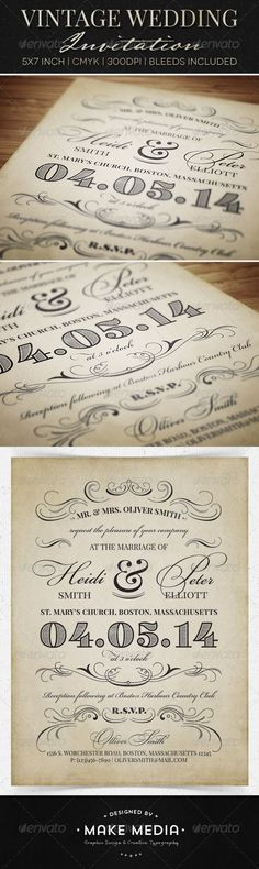 Vintage Wedding Invitation Print Templates PSD | Buy and Download: http://graphicriver.net/item/vintage-wedding-invitation/6603909?WT.ac=category_thumb&WT.z_author=MakeMediaCo&ref=ksioks