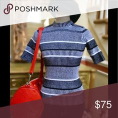 T by Alexander Wang Short Sleeve Sweater Top (NWT) T BY ALEXANDER WANG Sweater Ribbed, medium-weight sweater, stripes, round collar, short sleeves, no pockets Composition: 92% Cotton, 7% Nylon, 1% Spandex T by Alexander Wang Sweaters Crew & Scoop Necks