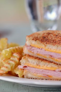 Grilled ham and cheese sandwich Layer ham and cheese between two ...
