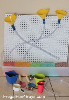 Sensory Play with a Funnels and Tubes Pegboard...for extra challenge for older kids have them design/assemble it on their own!