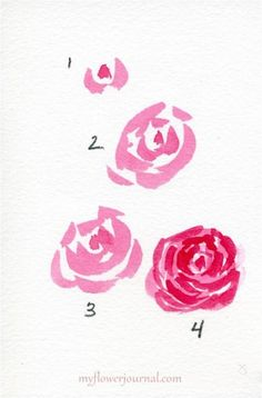 Watercolor Hearts and Roses - My Flower Journal How To Paint Simple Watercolor Roses-myflowerjou. Watercolour Tutorials, Watercolor Techniques, Art Techniques, Watercolor Heart, Watercolor Tips, Simple Watercolor Flowers, Tattoo Watercolor, Watercolor Background, Watercolor Landscape