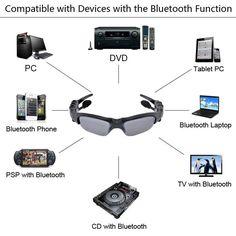 Bluetooth Headset Sunglasses   8GB Memory card   DV DVR Video Camera   MP3 Player high resolution 200w Mini Camcorders Recorder