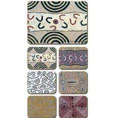 Aboriginal Design Yijan and Jijaka Souvenir Range Travel Stories, Women Ceremony placemats and coasters, set of 6