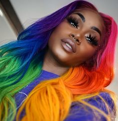 17 - Would you look at the colorful hair designs we prepared for you? - 1 We continue to offer wonderfully colorful Hair designs. Baddie Hairstyles, Cool Hairstyles, Fashion Hairstyles, Wedding Hairstyles, Pelo Multicolor, Curly Hair Styles, Natural Hair Styles, Rainbow Wig, Cool Hair Color