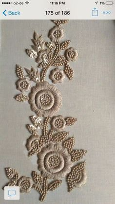 Detail of Ornate letter. Pearl embroidery done by Larissa Borodich Zardozi Embroidery, Pearl Embroidery, Tambour Embroidery, Embroidery Works, Indian Embroidery, Hand Embroidery Designs, Embroidery Stitches, Embroidery Patterns, Machine Embroidery