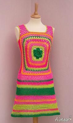 Flower Power Hippie Hippy Crochet Dress 60s 70s | eBay